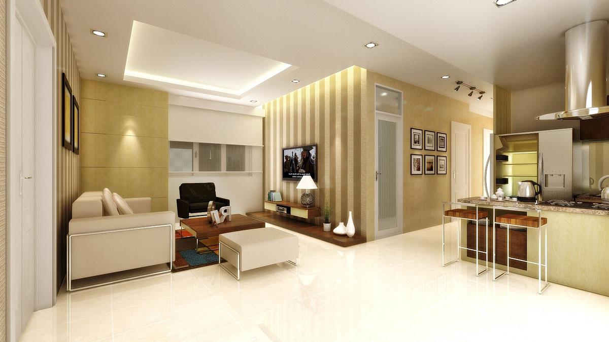 Phòng khách căn hộ Oriental Plaza